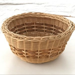Large woven round basket vintage cottage core